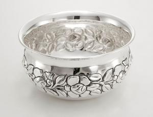 Ciotola placcata argento sheffield cm.9,5h diam.21