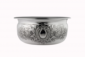 Ciotola tonda stile cesellato argentato argento sheffield cm.12,5h diam.31