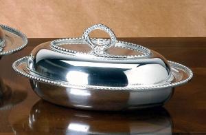 Legumiera ovale con coperchio placcata argento stile perlinato cm.32x25
