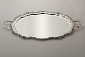 Vassoio ovale con manici sheffield stile Barocco cm.63x45