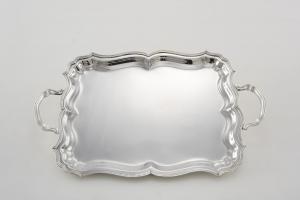 Vassoio rettangolare con manici argentato argento sheffield stile 700 cm.37x30