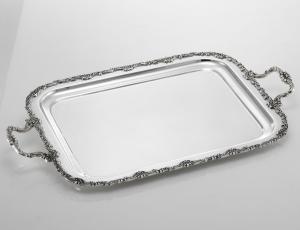 Vassoio rettangolare con manici argentato argento sheffield stile Liberty cm.47x39