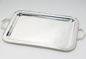 Vassoio rettangolare placcato argento con manici stile inglese cm.63x46