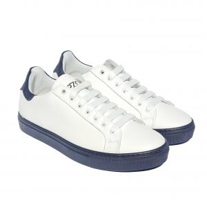 Sneaker bianca con tallone e fondo blu PZO