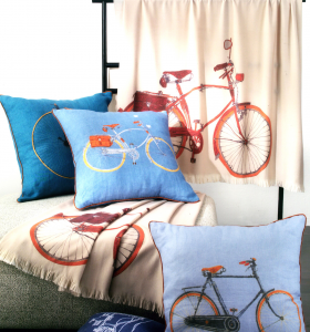 Trussardi Velodromo 60x60 cushion in light blue cotton satin