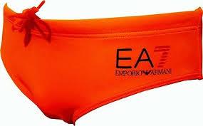 Slip mare uomo EA7 arancione con logo maxi aquila.