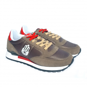 Sneaker tortora/rossa Kamsa