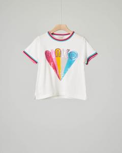 T-shirt bianca stampa arcobaleno