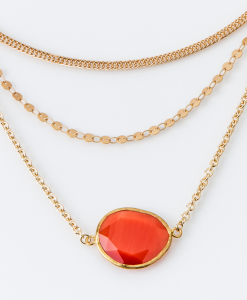 Collana in ottone galvanizzato con quarzo idrotermale arancione