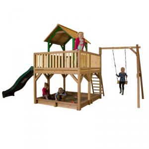 Casetta per Bambini in Legno di Cedro SAFARI ATKA AXI con altalena singola