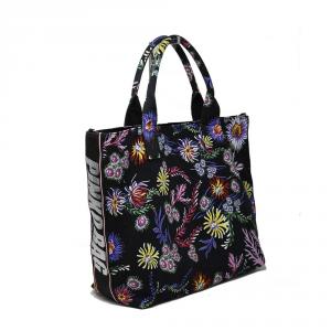 Borsa shopping in canvas colore nero con decorazione floreale - PINKO