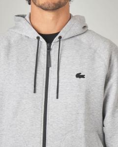 Felpa grigio chiaro con zip e cappuccio