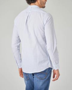 Camicia azzurra seersucker a coreana con taschino