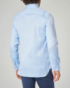 Camicia azzurra button down in cotone pinpoint stretch