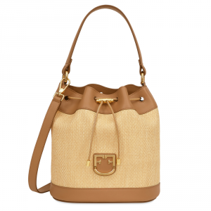 Hand and shoulder bag Furla CORONA 1007808 BEIGE+CARAMELLO f