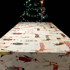 Tovaglia rettangolare 160x230 cm Tessitura Toscana Telerie - NATALE AL POLO puro lino