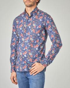 Camicia blu in fantasia a fiori rossi