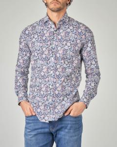 Camicia blu in fantasia floreale