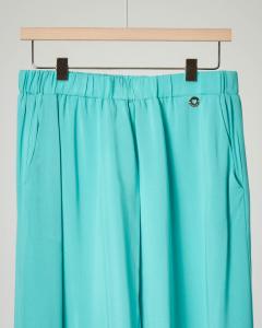 Pantalone verde acqua con fondo in pizzo 12-14 anni