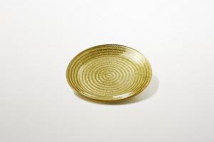Piattino per dolci in vetro colore oro riflessi dorati cm.1,5h diam.16