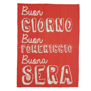 Strofinaccio da cucina That's Italia in puro cotone fondo rosso Buona sera