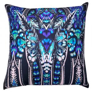 Cuscino decorativo ROBERTO CAVALLI 40x40 cm in raso PLUMES blu
