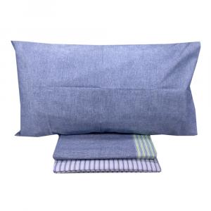 Set lenzuola piazza e mezza puro cotone Vallesusa Confident blu