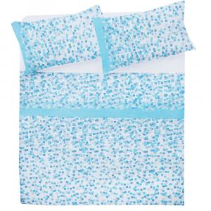 Set lenzuola matrimoniale 2 piazze in puro cotone ALMA azzurro