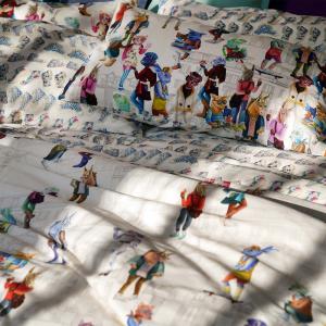 Set double bed sheets 2 squares PIP STUDIO Darjeeling bluette effect bedspread