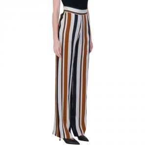 Pantalone a righe nei colori cuoio biano e nero - SPACE SIMONA CORSELLINI
