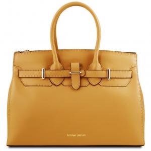 Tuscany Leather TL141548 Elettra - Borsa a mano media in pelle con accessori oro Senape