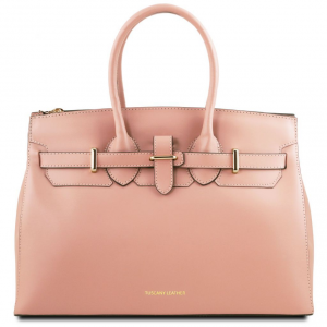 Tuscany Leather TL141548 Elettra - Borsa a mano media in pelle con accessori oro Ballet Pink