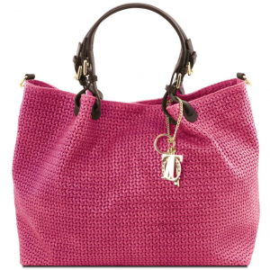 Tuscany Leather TL141568 TL KeyLuck - Borsa shopping TL SMART in pelle stampa intrecciata - Misura Grande Magenta