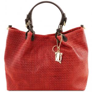 Tuscany Leather TL141568 TL KeyLuck - Borsa shopping TL SMART in pelle stampa intrecciata - Misura Grande Rosso Lipstick