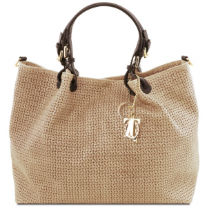 Tuscany Leather TL141568 TL KeyLuck - Borsa shopping TL SMART in pelle stampa intrecciata - Misura Grande Beige