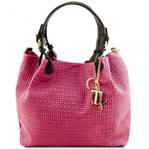 Tuscany Leather TL141573 TL KeyLuck - Borsa shopping in pelle stampa intrecciata Magenta
