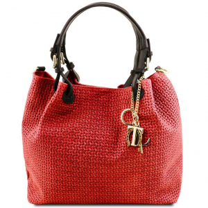 Tuscany Leather TL141573 TL KeyLuck - Borsa shopping in pelle stampa intrecciata Rosso Lipstick