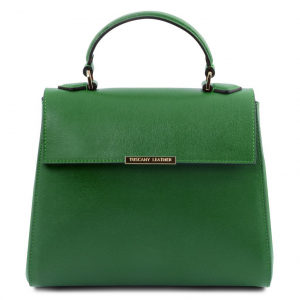 Tuscany Leather TL141628 TL Bag  - Bauletto piccolo in pelle Saffiano Verde
