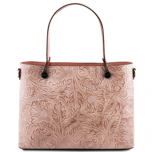 Tuscany Leather TL141655 Atena - Borsa shopping in pelle stampa floreale Nude