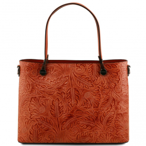Tuscany Leather TL141655 Atena - Borsa shopping in pelle stampa floreale Brandy