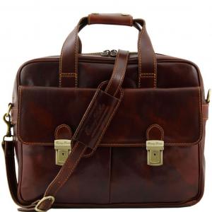 Tuscany Leather TL140889 Reggio Emilia - Esclusiva cartella porta notebook in pelle 1 scomparto Marrone