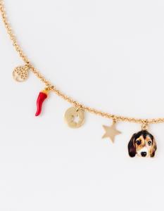 Collana girocollo in ottone galvanizzato con ciondoli Beagle