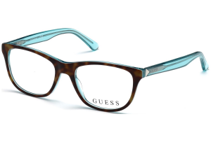 Guess - Occhiale da Vista Donna, Havana/Light Blue Rubber GU 2585 056 C52