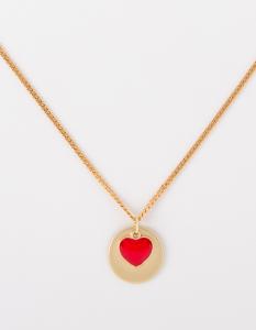 Collana lunga in ottone galvanizzato con piastra e cuore smaltato di rosso