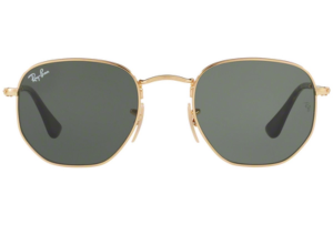 Ray Ban - Occhiale da Sole Unisex, Hexagonal Metal Flat Lenses, Gold/Green Shaded RB3548N 001 C48