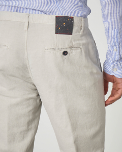 Pantalone chino beige in cotone e lino