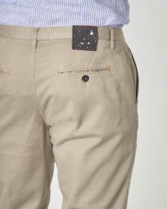 Pantalone chino beige micro-rombetto