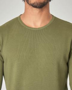 Maglia verde militare in cotone con pannello punto mosso