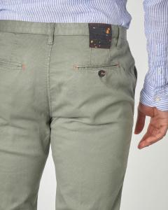 Pantalone chino verde salvia micro-rombetto