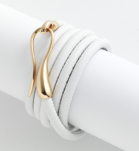 Leather bracelet with gold clasp